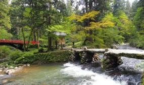 神橋(向かって左の赤い橋)と祓川です。昔、三山詣での人々は必ず祓川で身を清めてから登拝の途についたのだそうです。